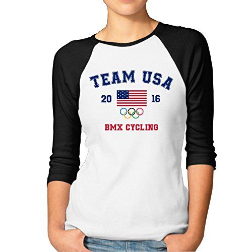 Adhra Lucky Women's USA BMX Cycling Logo In Rio Olympics 2016 3/4 Sleeve Baseball T Shirts/Short Sleeve/Top/Tee