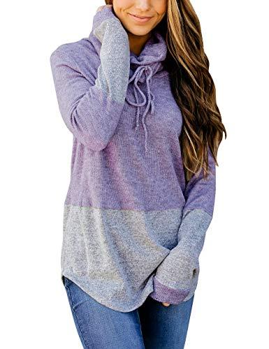 MEROKEETY Women's Cowl Neck Color Block Long Sleeve Drawstring Pullover Sweatshirt Knit Tops ()