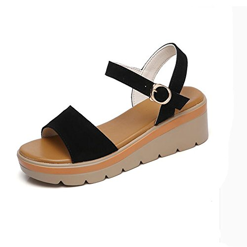 Sandalias Sordo Hembra Pendiente Con Zapatos Inferior Grueso Negro