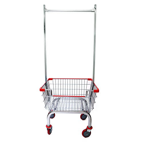 Coin Laundry Cart, CART&SUPPLY [Heavy Duty][Rolling Cart] Laundry Cart with Double Pole Rack [Chrome]