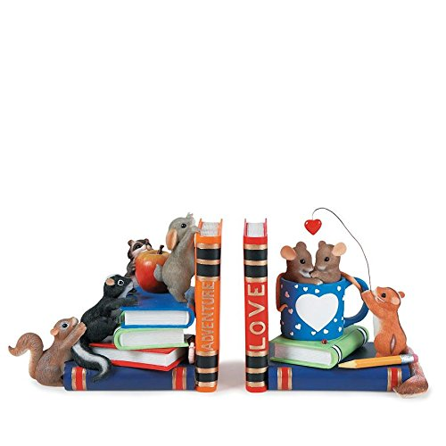 Enesco Fitz and Floyd Compatible Charming Tails Friends Can Be Found Between Adventure and Love Bookends