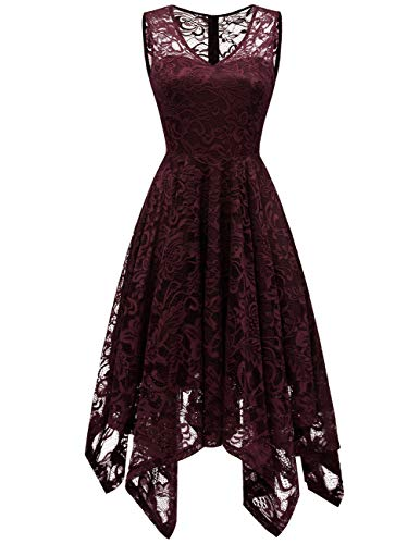 MEETJEN Women's Elegant Floral Lace Sleeveless Handkerchief Hem Asymmetrical Cocktail Party Swing Dress Burgundy 2XL