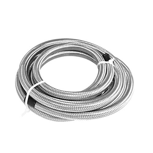 (Universal AN6 20Ft Braided Oil Fuel Hoses Line Stainless Steel and Nylon Fuel Line Tubing - Silver)