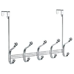 InterDesign York Lyra Over the Door 10-Hook Rack for Coats, Hats, Robes, Towels - Chrome