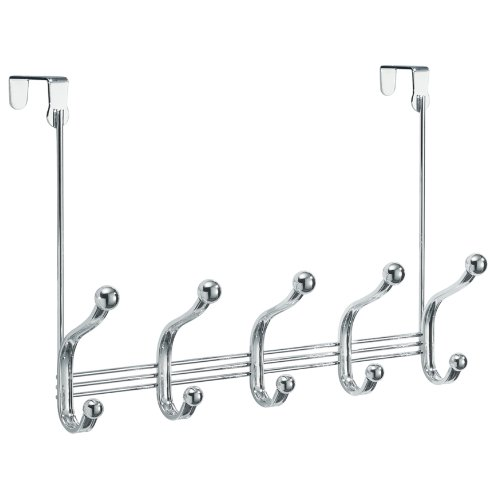 InterDesign York Lyra Over Door Storage Rack – Organizer Hooks for Coats, Hats, Robes, Clothes or Towels – 5 Dual Hooks, Chrome