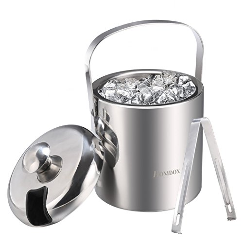 Homdox Ice Bucket Stainless Steel Ice Buckets with Tongs,Double Wall Insulated ice bucket,Wine Ice Buckets for Paties and Bar,Outdoor Camping Silver Ice Buckets with Lid