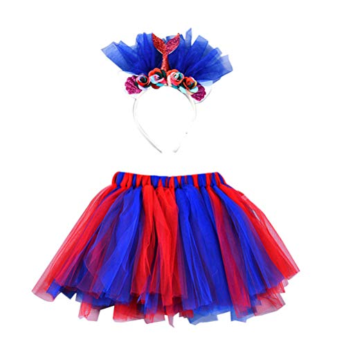 Amosfun Baby Girls Mermaid Tutu Skirts and Headband Princess Costume Outfit for Halloween Party Cosplay Dress up Party Performanc Cosplay Size L