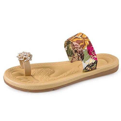 Bohemia Zapatos mujer de Plano Sandalias casuales Rojo de Mocasines playa Toe Clip Dulce LMMVP Moda romanas Chanclas Verano Sandalias Sandalias Mujeres 86gKK5q