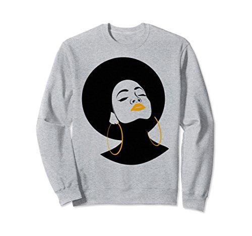 Unisex Black Girl Magic Gold Lips Afro Queen Melanin Sweatshirt XL Heather Grey
