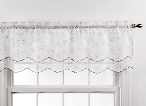 Stylemaster Valance - Stylemaster Renaissance Home Fashion Reese Embroidered Sheer Layered Scalloped Valance, 55-Inch by 17-Inch, Chrome