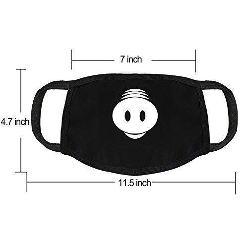 Accmor 6 Pack Black Anti-Dust Anime Cotton Mask, Cute Unisex Face Mouth Mask for Kids Teens Men Women (Teeth EXO Bear Pig Pattern) Halloween