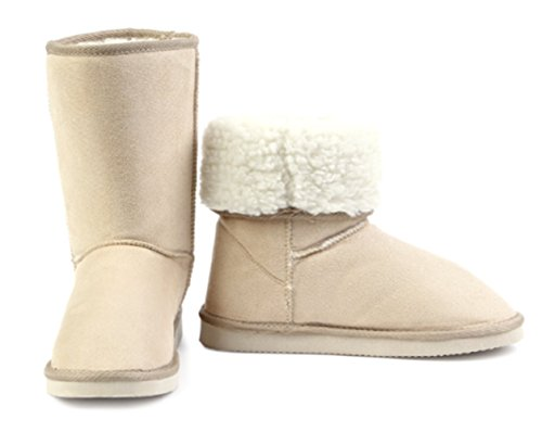 Slip Boots Suede Mid Snow Womens Beige FHD Faux Calf on CXgUqXw