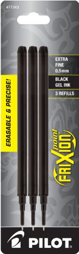 Pilot FriXion Gel Ink Pen Refill, 3-Pack for Erasable Pens, Extra Fine Point, Black Ink (77343)