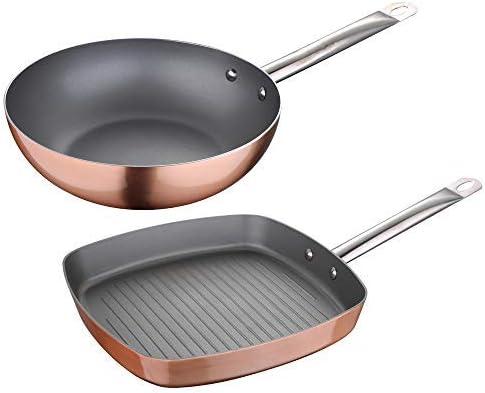 San Ignacio Q3192 Set 2 piezas: Sartenes-Wok 26 cm + Asador Grill 28x28 cm, aluminio prensado, aptas para inducción, Optimum plus-efecto cobre: Amazon.es: Hogar