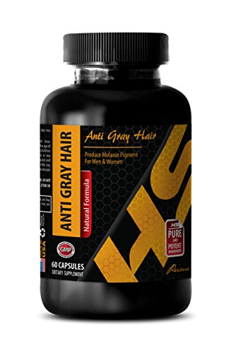 anti-aging hair care - ANTI GRAY HAIR - NATURAL FORMULA - saw palmetto supplements - 1 Bottle (60 Capsules) by HS PRIME