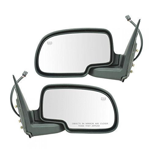 Gloss Black Power Heated Side Mirror LH & RH Pair Set for Chevy GMC Pickup Truck