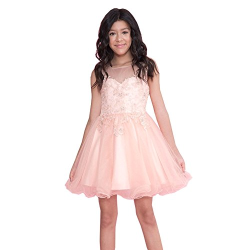 Calla Collection Big Girls Blush Lace Illusion Short Party Tween Dress 12 by Calla Collection USA