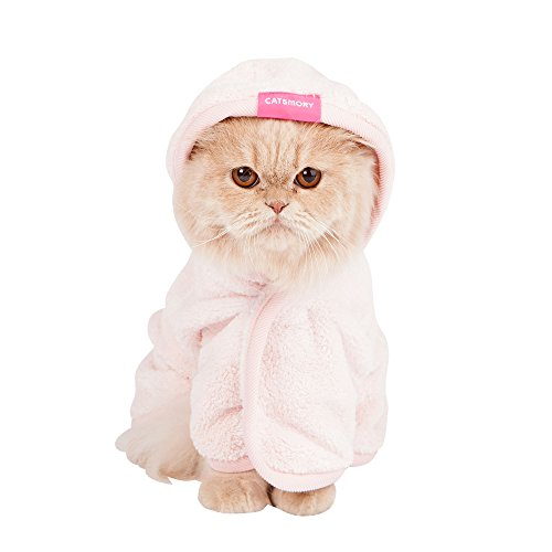 Catsmory] Microfiber Bath Gown for Small Dog and Cat Bath Robe Towel, Quick Drying, Microfiber Towel (Medium)]()