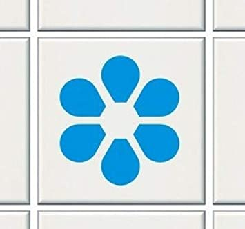 12X Petal Tile Transfers Stickers Kitchen Bathroom BLACK - To Fit 4' Tile - Smart-De-Signs