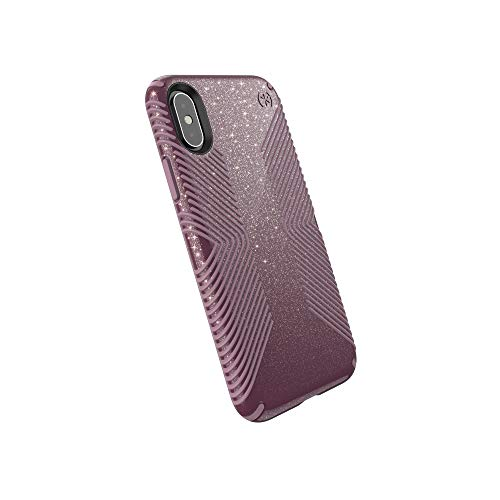 Speck Products Compatible Phone Case for Apple iPhone Xs/iPhone X, Presidio Grip + Glitter Case, Starlit Purple with Gold Glitter/Cattleya Pink
