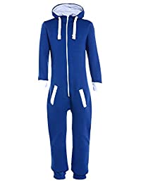 Kids Plain Hooded 1Onesie All in One Jumpsuit Playsuit/Childrens Jumpsuit (Girls Boys onezies onesy Onsie)