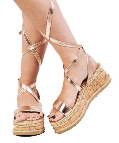 d10e82c7154 Lace Up Braided Cork Wedge Flat Espadrille Sandals Rose Gold  Amazon ...