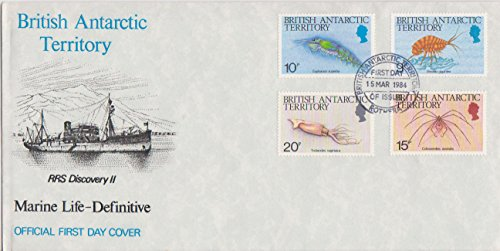 British Antarctic Territory Scott 110-112 9p, 10p, 15p and 20p Antarctic Marine Life 1984 British Antarctic Territory First Day of Issue Rothera. Cacheted. Unaddressed.