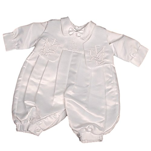 Embroidered Satin Suit (Dressy Daisy Baby Boy's Embroidered Cross Satin Christening Romper Formal Suit With Hat Infant Size 3-6 Months White)