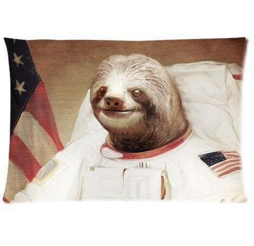 Honest Kind Sloth Astronaut Cool Zippered Pillow Cases Cover 20X30 Inch -