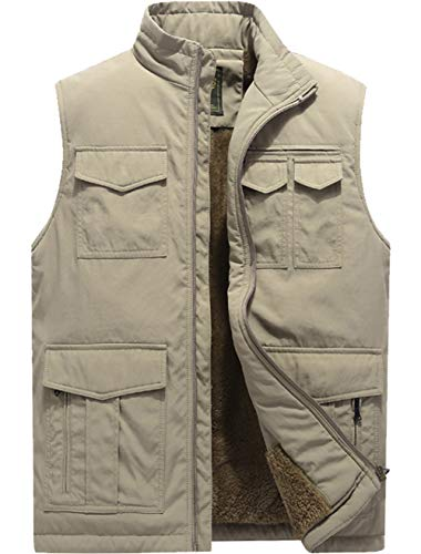 XinDao Men's Stylish Leisure Padded Vest Cashmere Warm Vest Lightweight Stand Quilted Coat Khaki US L/Asia 4XL ()