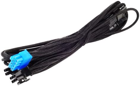 and One PCI-E 8pin PP06B-2PCIE70 6+2 SilverStone Black Sleeved PSU Cable for One PCI-E 8pin 6+2