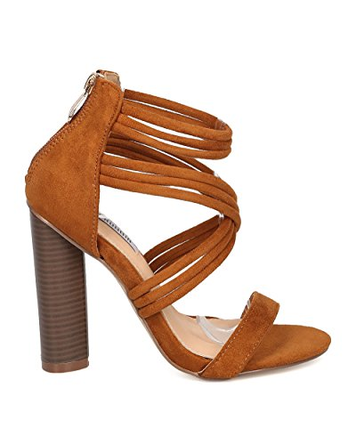CAPE ROBBIN Women Faux Suede Chunky Heel Sandal - Dressy, Formal, Party - Strappy Block Heel - GF08 by Camel