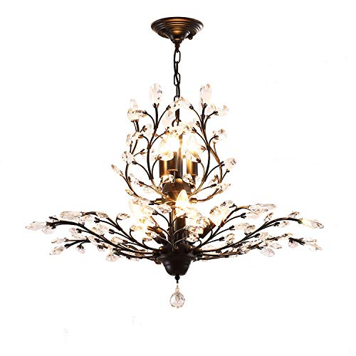 - Garwarm 8-Light Vintage Crystal Chandeliers Ceiling Lights LED Light Crystal Pendant Lighting Ceiling Light Fixtures Chandeliers Lighting for Living Room Bedroom Restaurant Porch Chandelier(Black)