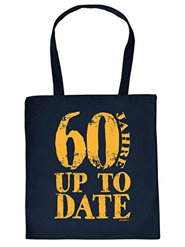 Stofftasche - Seit 60 Jahren - Up to Date - lustig bedruckte Umhängetasche als Geschenk zum 60. Geburtstag - Baumwolltasche Tragetasche mit witzigem Spruch