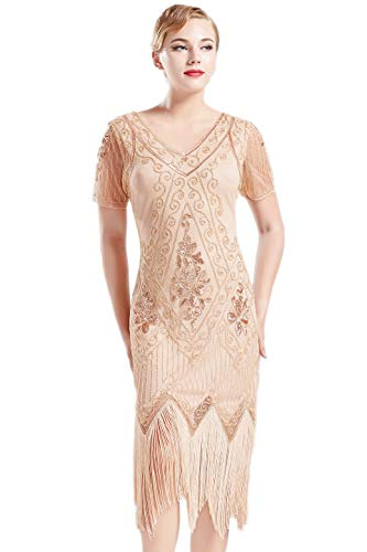BABEYOND 1920s Art Deco Fringed Sequin Dress 20s Flapper Gatsby Costume Dress (Apricot, Large)