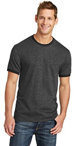 Port & Company Mens 5.4-oz 100% Cotton Ringer Tee PC54R -Heather Navy (Wholesale Ringer T-shirts)