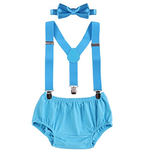 Baby Boys Cake Smash Clothes Diaper Suspenders Pants Bow Tie 3PCS Set First 1st 2nd Birthday Outfit for Photo Prop Party Blue 3-24 Months