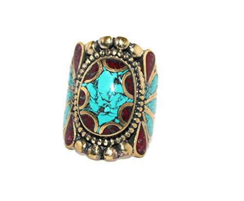 Coral Turquoise Ring, Tibetan Ring, Nepal Ring, Gypsy Ring, Meditation Ring (Tibetan Turquoise Ring)