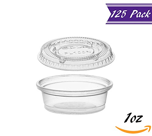 (125 Pack) 1-Ounce Plastic Portion Cups with Lids, Small Clear Plastic Condiment Cups / Sauce Cups, Disposable Souffle Cups / Jello Shot Cups by�Tezzorio