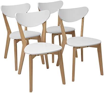 Homely - Pack de 4 sillas de Comedor de diseño nórdico MELAKA Madera de Roble y Lacado Blanco Mate: Amazon.es: Hogar