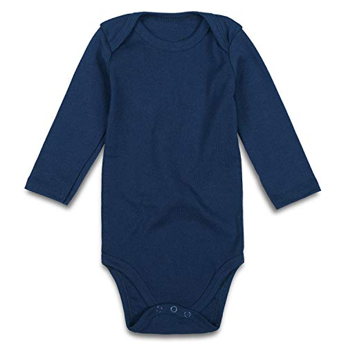 ROMPERINBOX Unisex Solid Baby Bodysuit 0-24 Months (Navy, 18-24 Months) - Infant Boys Diaper Shirt