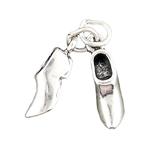 (Corinna-Maria Charms Sterling Silver Wooden Shoes Charm 3d Clogs)