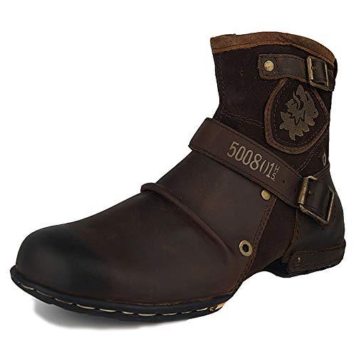 MERRYHE Männer Echtes Leder Stiefeletten Armee Militärstiefel Casual Wüstenkampfstiefel Arbeit Utility Schuhe Wandern Trekking Schuhe Brown