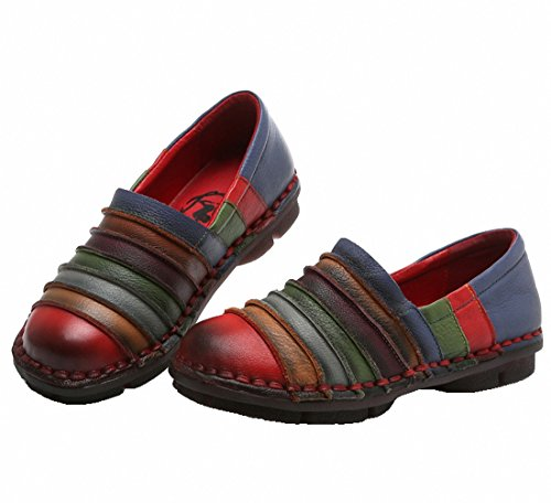 Kvinnor Dagdrivaren För Läder Skor Tillfälliga Platt Promenadskor Platta Driv Skor Halkar På Moccasin Red