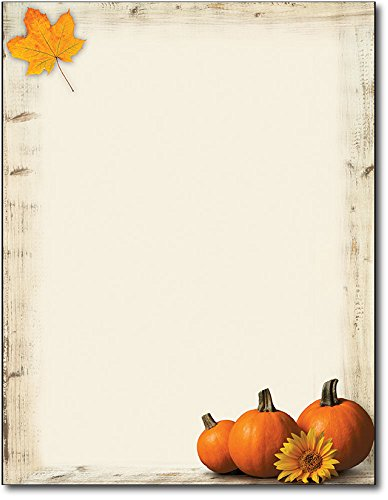Pumpkin Sunflower Fall Letterhead Paper - 80 Sheets]()