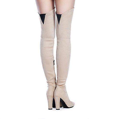Shoe'N Tale Frauen Stretch Wildleder Chunky Heel Oberschenkel Hohe Overknee Stiefel Nackt