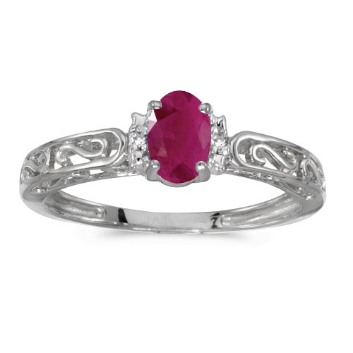 Gold Genuine Ruby Ring - 14k White Gold Oval Ruby And Diamond Ring (Size 6)