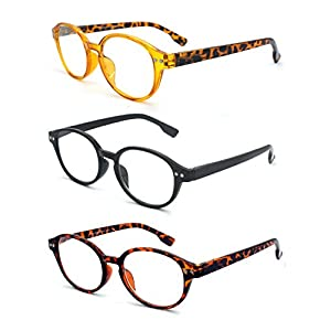 EYE-ZOOM 3 Pairs Classic Oval Style Reading Glasses with Spring Hinge Comfort Fit for Men and Women Choose Your Magnification, Black, Brown Tortoise and Yellow, +1.25 Strength