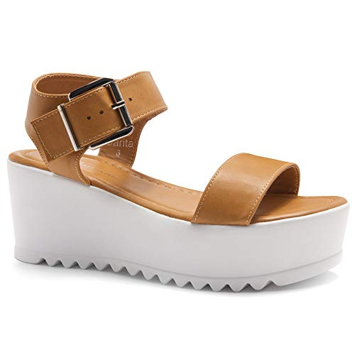 Camel Platform - Herstyle Carita Women's Open Toe Ankle Strap Platform Wedge Sandal Camel 8.5