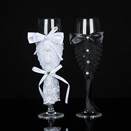 groom and bride glasses handmade wedding champagne flutes Swarovski crystal toast glasses - Wedding Gift idea